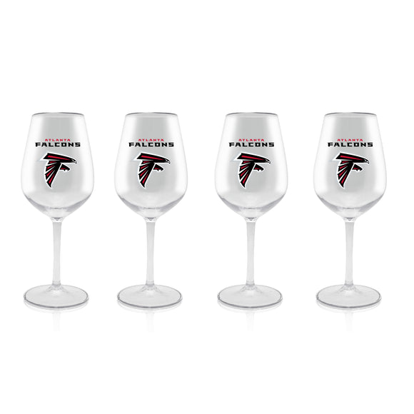 Official NFL Plastic Stemmed Wine Glass 4 Pack