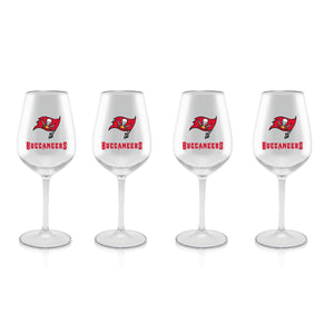 NFL TAMPA BAY BUCCANEERS CLEAR PLASTIC STEM WINE GLASS 16 oz. 4 PACKS