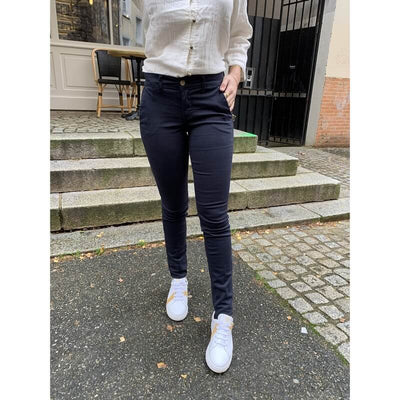 HAPPY - Pantalon chino Joy Marine - coton élasthane