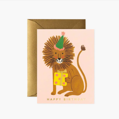 RIFLE PAPER CO - Carte de vœux amusante - Lion Birthday
