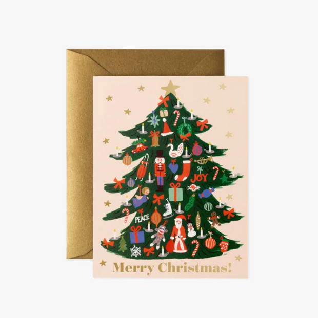 RIFLE PAPER CO - Carte de Noël - trimmed tree