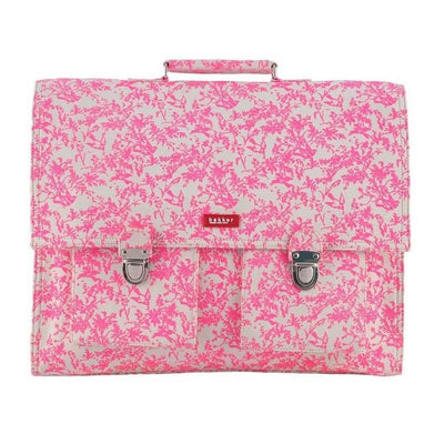 BAKKER MADE WITH LOVE - Cartable en toile imprimé jouy rose fluo