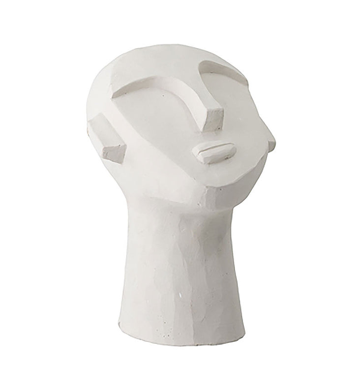 Deco visage en ciment blanc side - Bloomingville