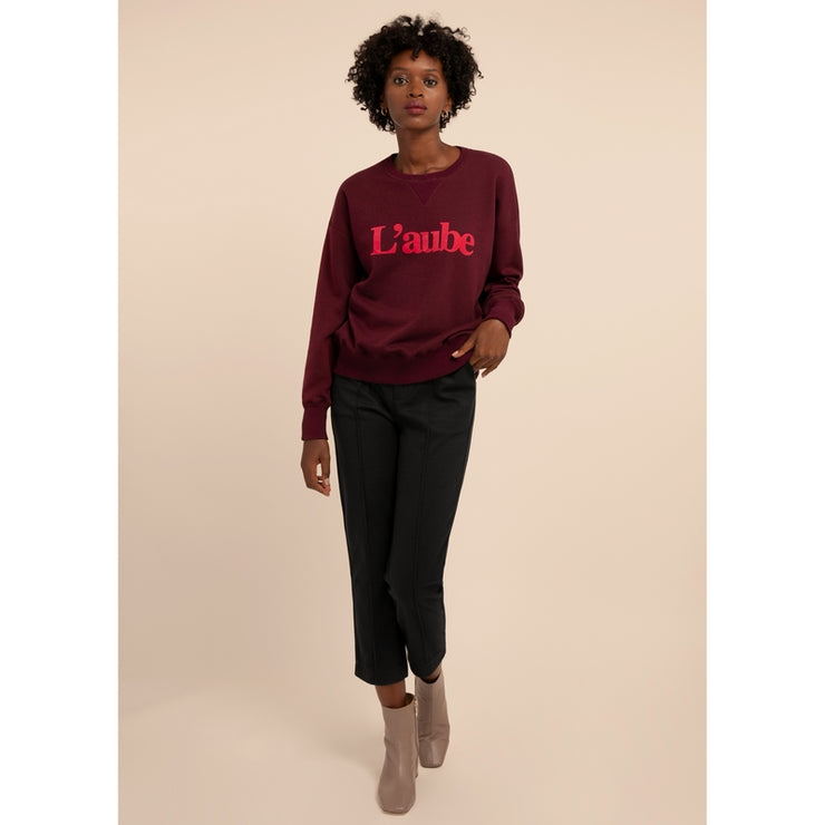 "FRNCH - Sweat bordeaux en coton ""L'aube"" - Nassika"