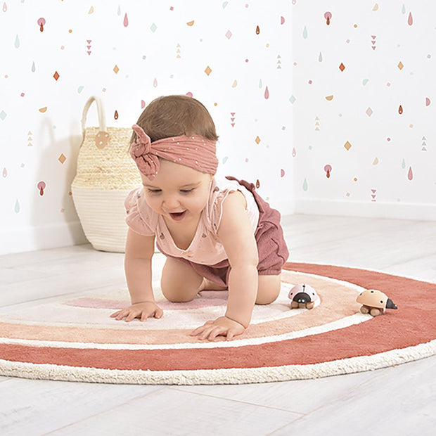 tapis chambre bébé arc en ciel orange terracotta lilipinso