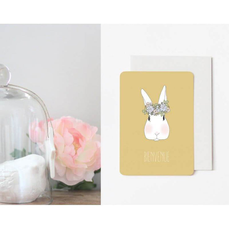 "Carte de naissance lapin ""Joséphine moutarde"" - My Lovely Thing"