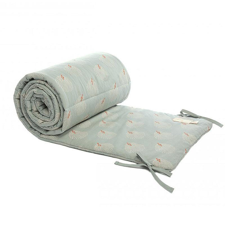 Tour de lit en coton bio Nobodinoz - White Gatsby/Antique Green
