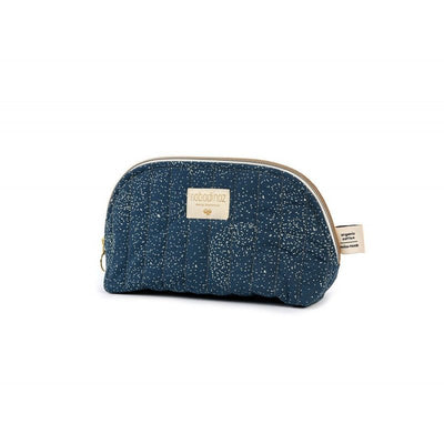 Trousse de toilette Holiday en coton bio Nobodinoz - Gold Bubble/Night Blue