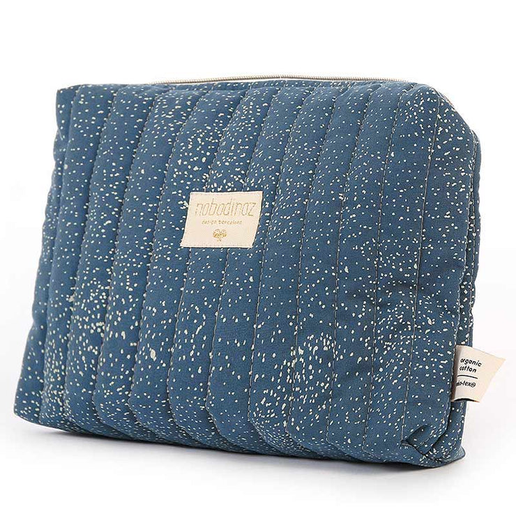 Trousse de toilette en coton bio Travel de Nobodinoz - Gold Bubble/Night Blue
