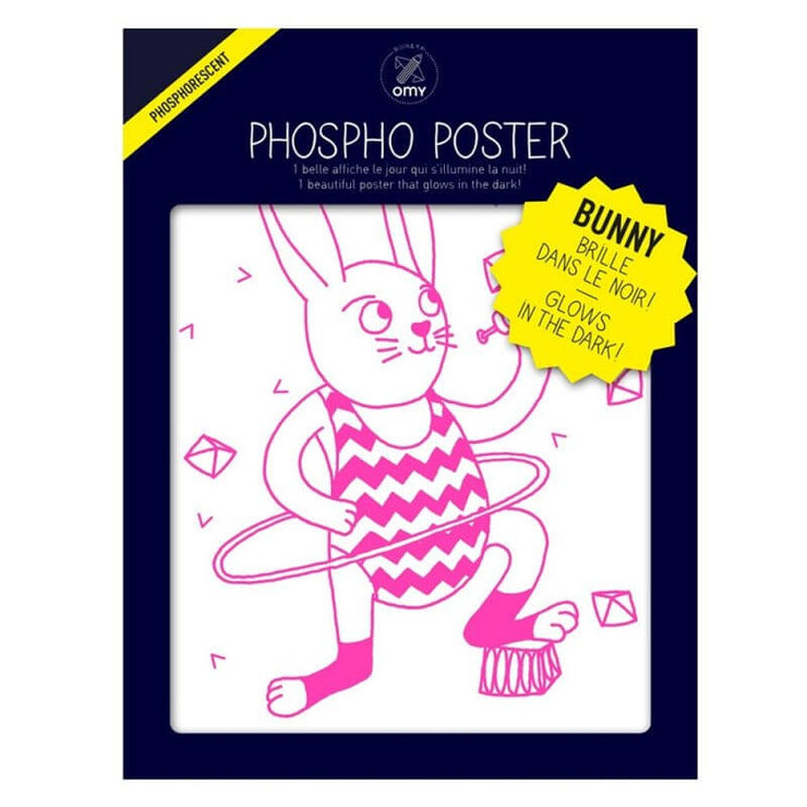"Affiche phosphorescente lapin rose ""Bunny"" - OMY Design & Play"