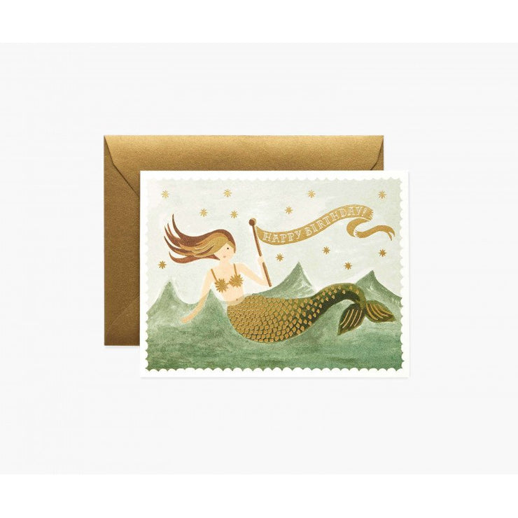 Carte d'anniversaire - Vintage mermaid birthday