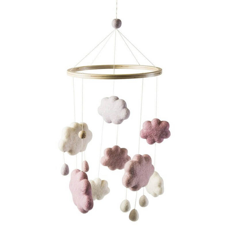 Mobile nuages en laine rose - Sebra