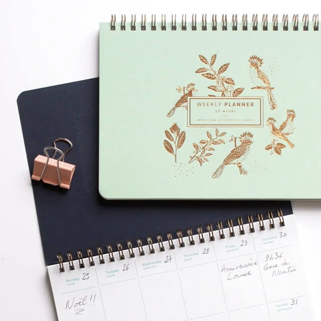 les editions du paon semainier slow life mint