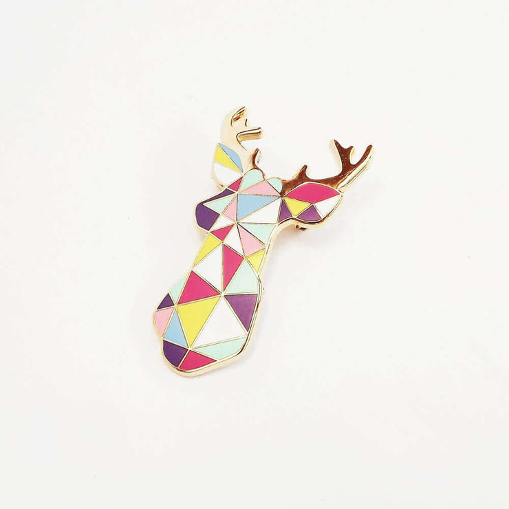 Broche originale en métal cerf multicolore - Sketch Inc