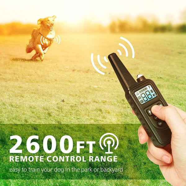 Electric dog shock collar with 2600 foot remote control range
