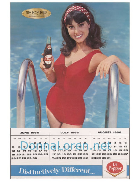 Dr Pepper Calendar Poster: June-July-August 1966