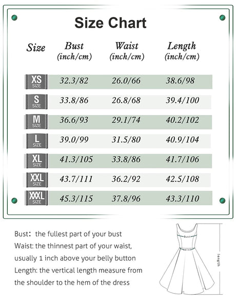 Size Chart Vintage Dresses 1950s Fashion | Gardenwed