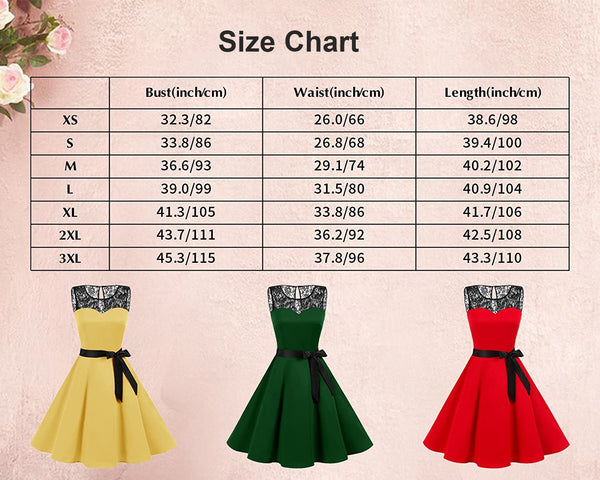 Size Chart Vintage Dresses 1950s Fashion Retro Style Dress | Gardenwed