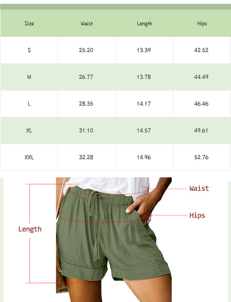 Size Chart Frill Waist Rolled  Cuff Shorts Polyester Plain Polyester Rayon Paperbag Waist Slant Pocket Shorts | Gardenwed