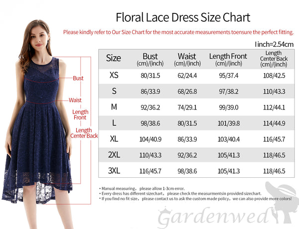 Size Chart Lace Bridesmaid Dresses A-line Scoop Short High Low Homecoming Dresses | Gardenwed