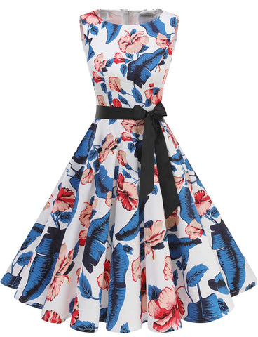 GDQC009 Vintage Dresses Royal Blue Flower | Gardenwed