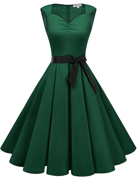 GDQC033 Solid Color Vintage Dress Sweetheart Swing Dress Green Dress | Gardenwed