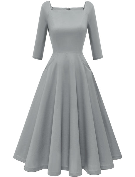 GDQC034 Vintage Dresses Simple Party Dress Daily Causal Cocktail Dress Grey Dress | Gardenwed