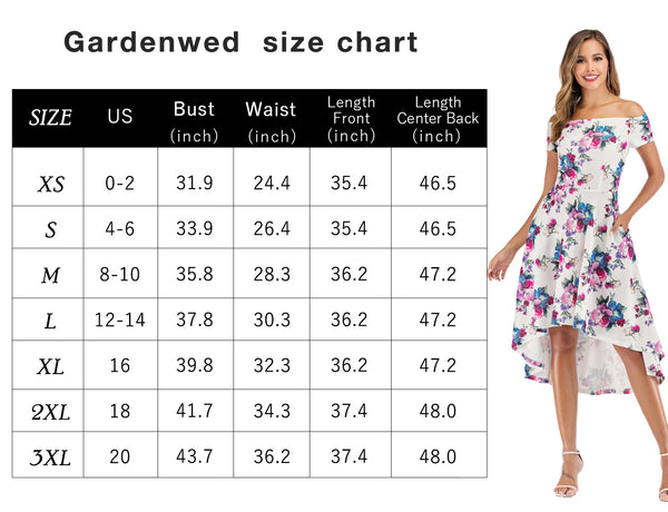 Size Chart Party Dress Cocktail Dress Hi-lo Dress Causal Dresses | Gardenwed