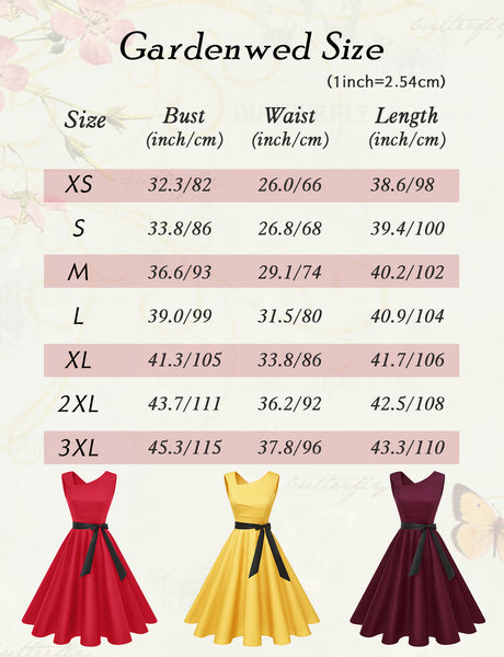 Size Chart Vintage Dresses 1950s Fashion for Women | Gardenwed
