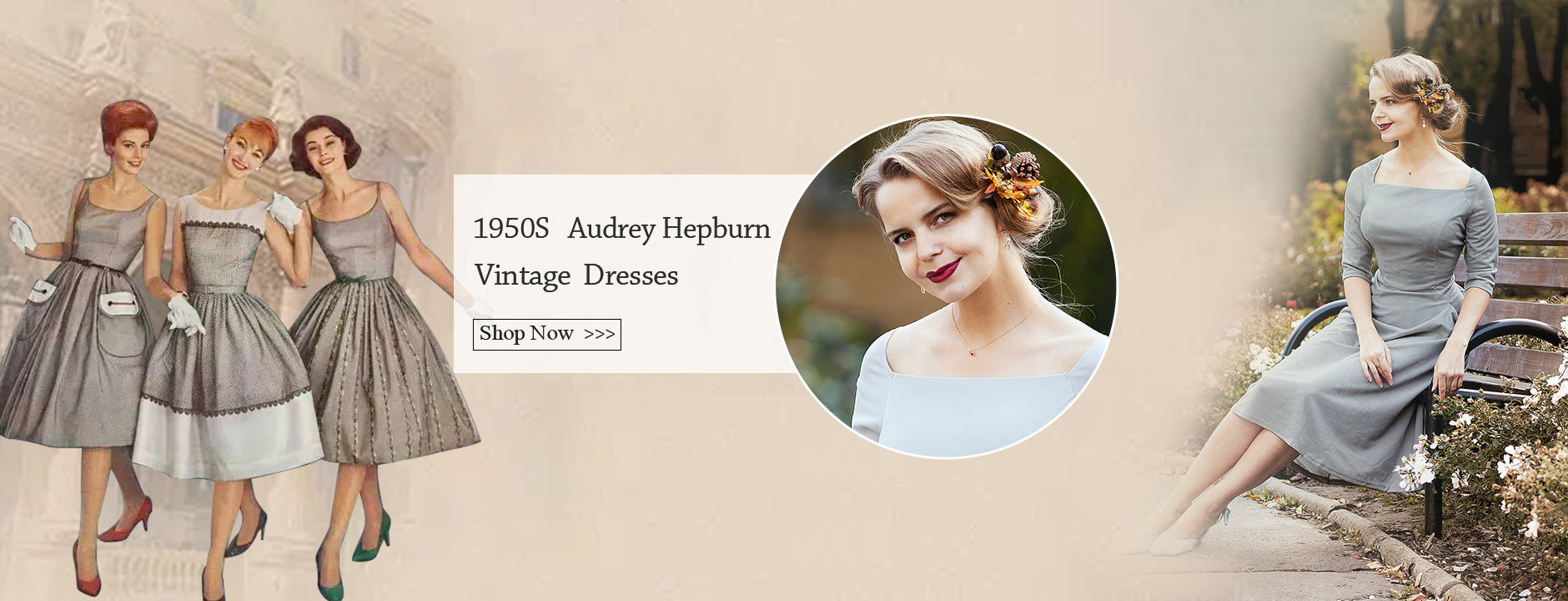 vintage dresses 1950s vintag style 50s fashion for women Audrey Hepburn Style | Gardenwed