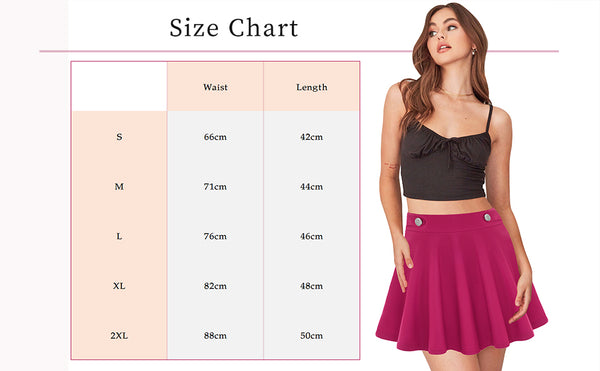 Size Chart GD190 Women's Basic Solid Flared Stretchy High Waist Skater Mini Skirt | Gardenwed