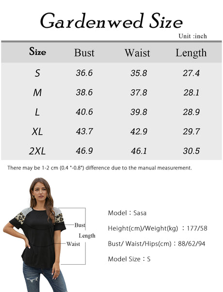 TLQC10010 Size Chart Women's Summer Short Sleeve Tunics Leopard Stripe Loose Casual Tops Blouse T-Shirt | Gardenwed