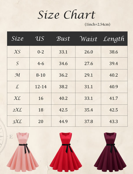 Size Chart Vintage Dresses 40s 50s 60s Fashion for Women | Gardenwed