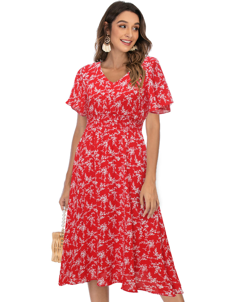 Floral Chiffon Dresses for Women Flowy Casual Sun Dress | Gardenwed