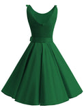 Women's 1950s Fashion Swing Dresses A-line Bowknot Simple Classic Vintage Dress BB007 | Gardenwed