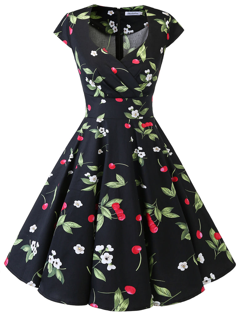 Little Cherry Print Dresses Sweetheart Cap Sleeve Daily Casual Dress Summer Party Dress