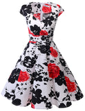 50s Fashion Floral Dress Sweetheart Cap Sleeve Knee-length Classic Vintage Dresses BB052 | Gardenwed