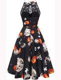 Floral Lace Aline Halter Knee-length Halloween Party Dress
