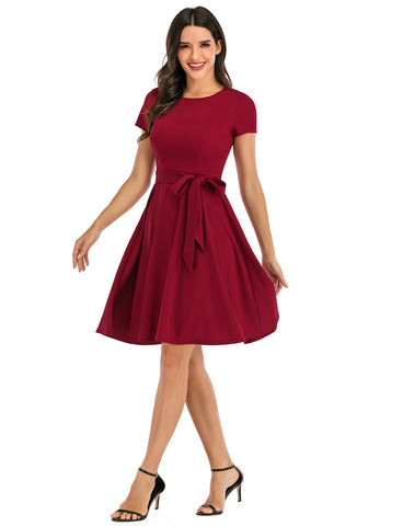 Vintage Dresses Daily Scoop Casual Flared Party Dress with Belt DT10069 | Gardenwed