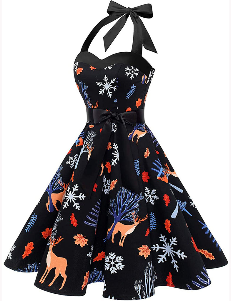 Halter 1950s Fashion Vintage Style Swing Rockabilly Dress DT10013 | Gardenwed