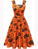 Vintage Style Halloween Theme Print Party Cocktail Dress