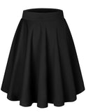 Women's Basic Versatile Stretchy Flared Skater Casual Mini Skirt