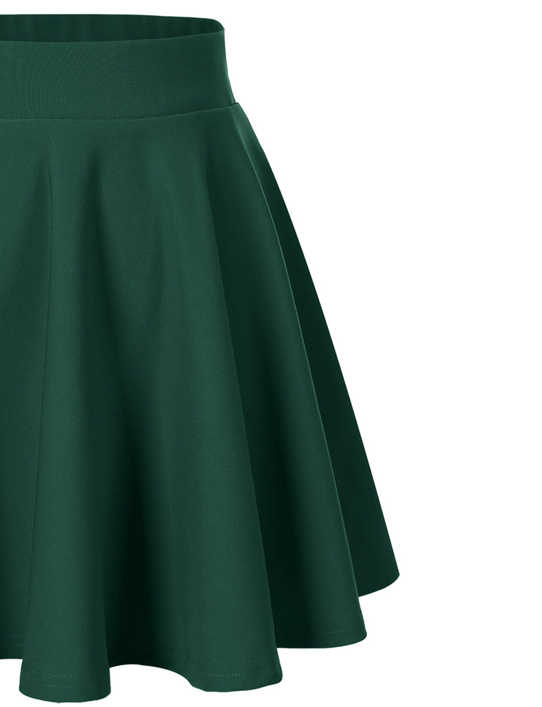 Women's Basic Versatile Stretchy Flared Skater Casual Mini Skirt | Gardenwed
