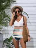 Women's Summer Top Knit Stripe Blouse Tank Tops Casual T-Shirts | Gardenwed