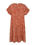 Summer Women's Ruffle Leopard Print Loose Fit Mini Dress GDQC1011 | Gardenwed