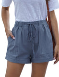 Casual Summer Style Polyester Plain Paperbag Pocket Shorts