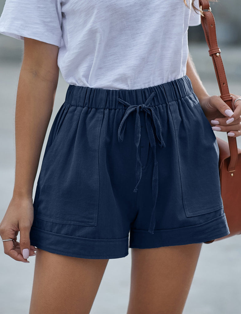 Casual Summer Style Polyester Plain Paperbag Pocket Shorts | Gardenwed