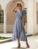 Boho V Neck Ruffle Floral Print Wrap Summer Maxi Dress | Gardenwed