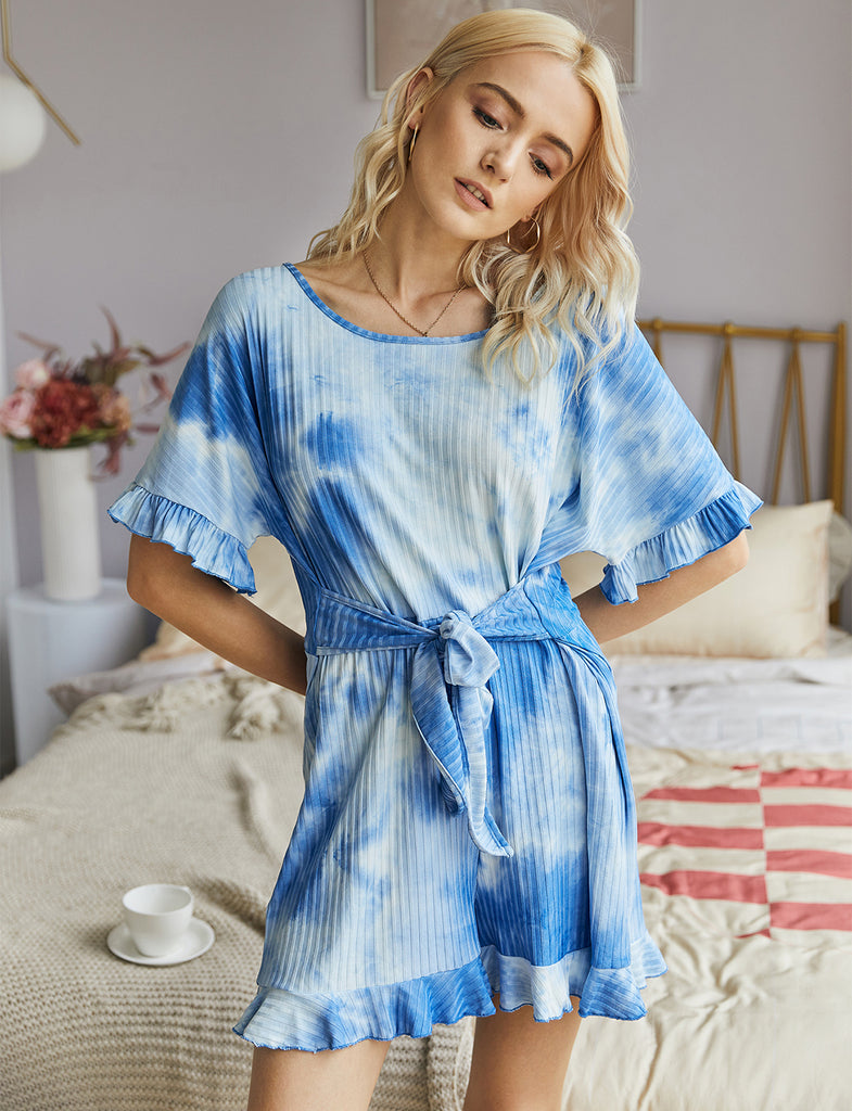 Women Summer Loose Keyhole Back Tie Dye Short Jumpsuits | Gardenwed