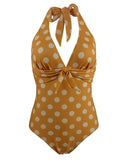 Halter Deep V-neck Vintge Polka Dot One-Piece Swimsuits GDCG1013 | Gardenwed